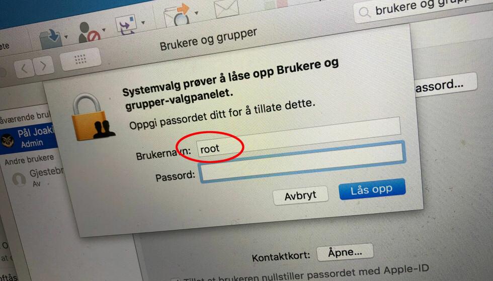 <strong>OOPS:</strong> Et nyoppdaget sikkerhetshull i MacOS gjør det lett som en plett for uvedkommende å ta full kontroll over en Mac. Foto: Pål Joakim Pollen