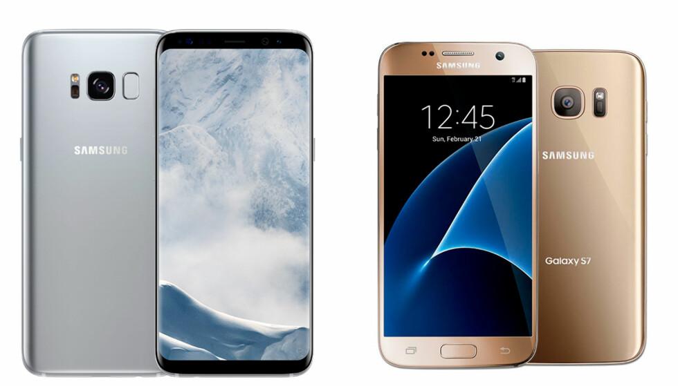 Samsung Galaxy S8 (venstre) og Samsung Galaxy S7 (høyre). Foto: Samsung