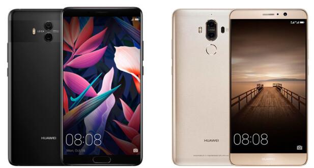 Mate 10 Pro (venstre) og Mate 9 Pro (høyre). Foto: Huawei