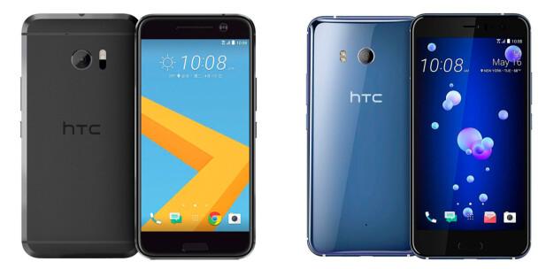 HTC 10 (venstre) og HTC U11 (høyre). Foto: HTC