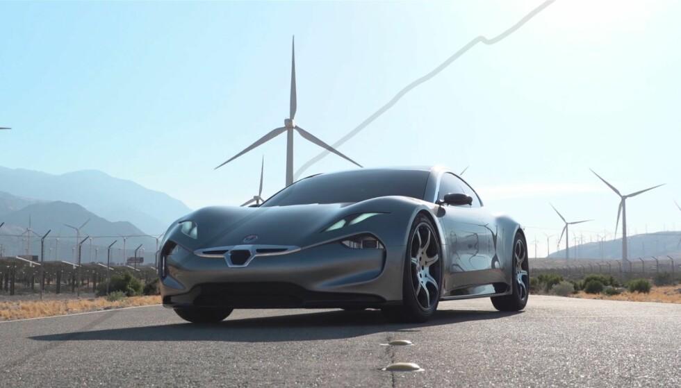 <strong>GLIS:</strong> Fronten på Fisker EMotion har en mildt sagt egenartet design. Foto: Fisker