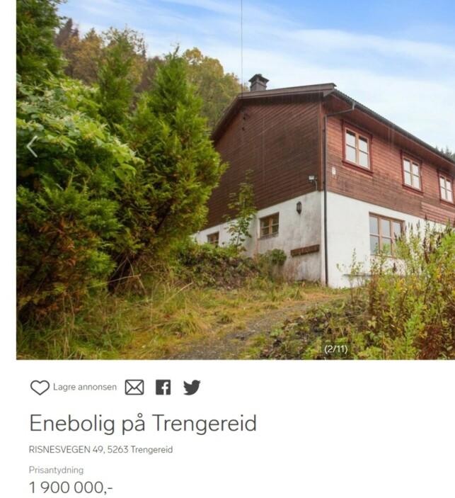 BOLIG UTENFOR BERGEN: Noen mil utenfor sentrum av Bergen finner du en enebolig til under to millioner. Skjermdump: Dinside.