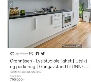 STUDENTKUPP: Leilighet for under 800.000 kroner nær studiestedene i Tromsø.