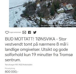SNEKKERKUPP: Tomt utenfor Tromsø til nesten samme pris som boligen avbildet over. Skjermdump: Dinside.