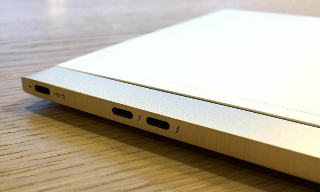 3 x USB-C: Denne porten begynner å bli vanlig, men det er slett ikke vanlig å se modeller med hele tre USB-C-porter. Foto: Bjørn Eirik Loftås
