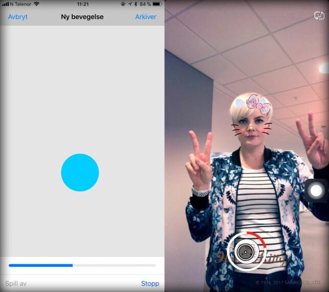 ASSISTIVETOUCH: Ved hjelp av denne tilgjengelighetsfunksjonen kan du gjøre et videoopptak i Snapchat uten å måtte holde fingeren på skjermen. Skjermbilde: Kirsti Østvang