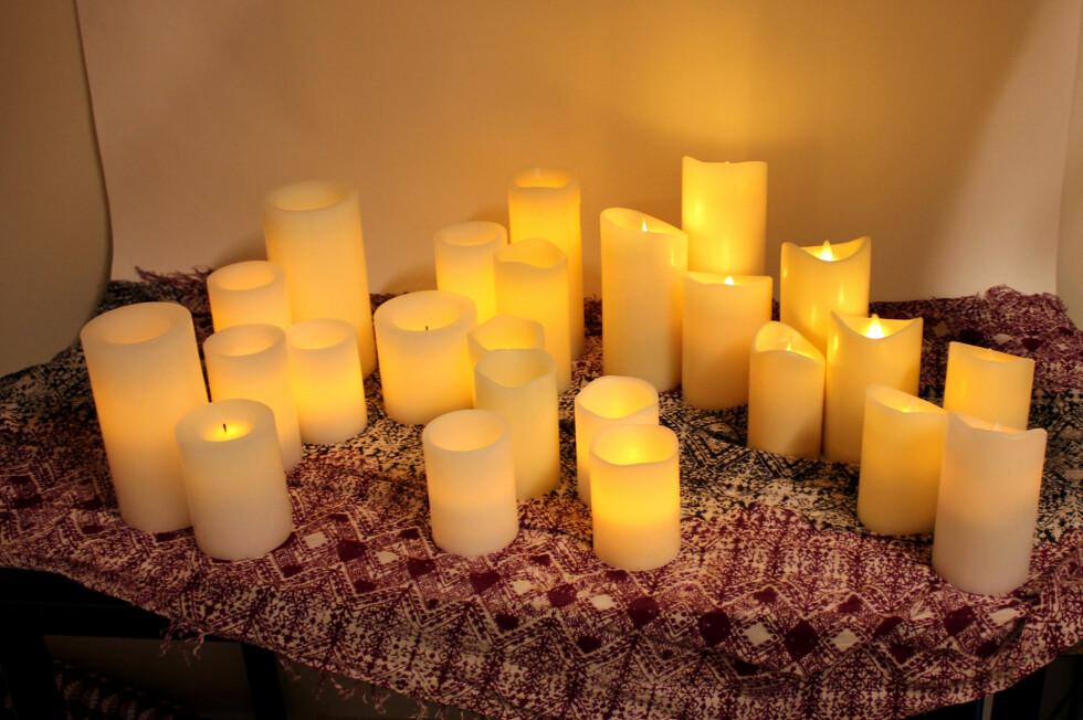 LAR DU DEG LURE? LED vokslys finnes i mange varianter. Hvilke ser mest ekte ut? Foto: KRISTIN SØRDAL