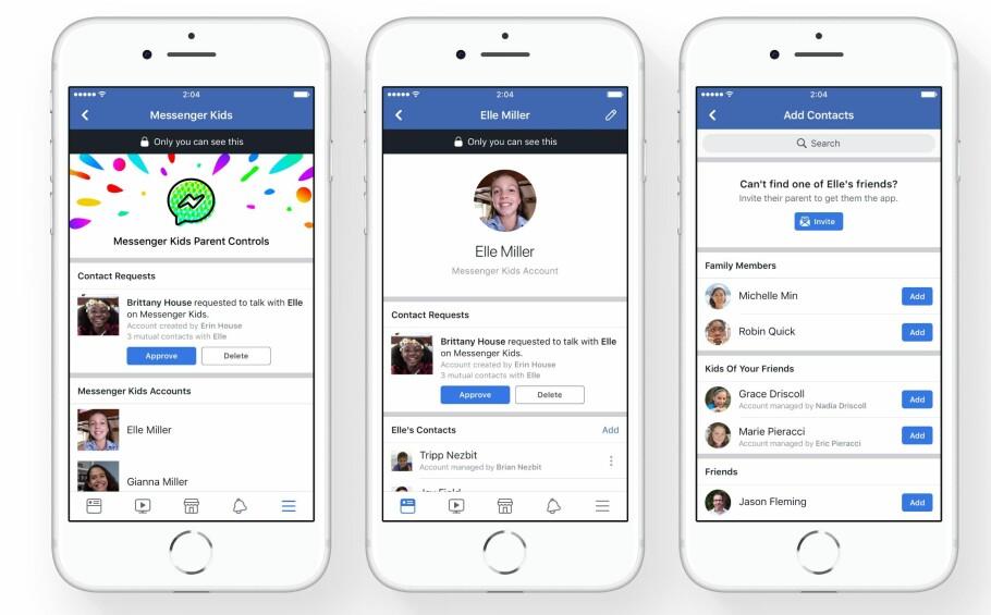 MESSENGER FOR BARN: I Facebooks nye meldingsapp for barn er det foreldrene som bestemmer hvem de kan chatte med og ikke. Foto: Facebook
