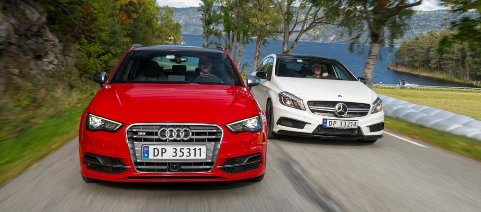 Mercedes-Benz A45 AMG mot Audi S3. To spreke kompaktbiler, og begge er nye på markedet. Hvilken av dem bør du velge? Foto: Jamieson Pothecary