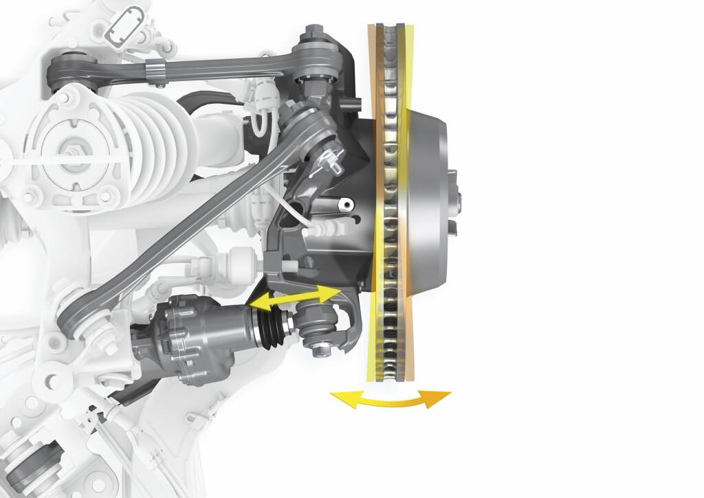 Firehjulstyringen virker gjennom en aktuator som flyttes med hjelp av en elektromotor og reimdrift.  Foto: Porsche