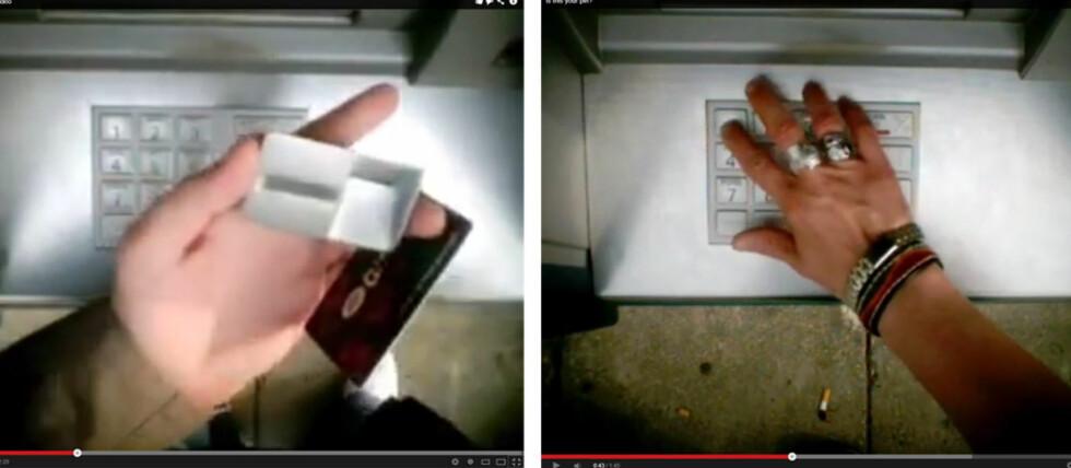 Så lett kopierer svindlerne kortet ditt. Se hele filmen lengre nede i artikkelen. Foto: YouTube/Tuva Moflag