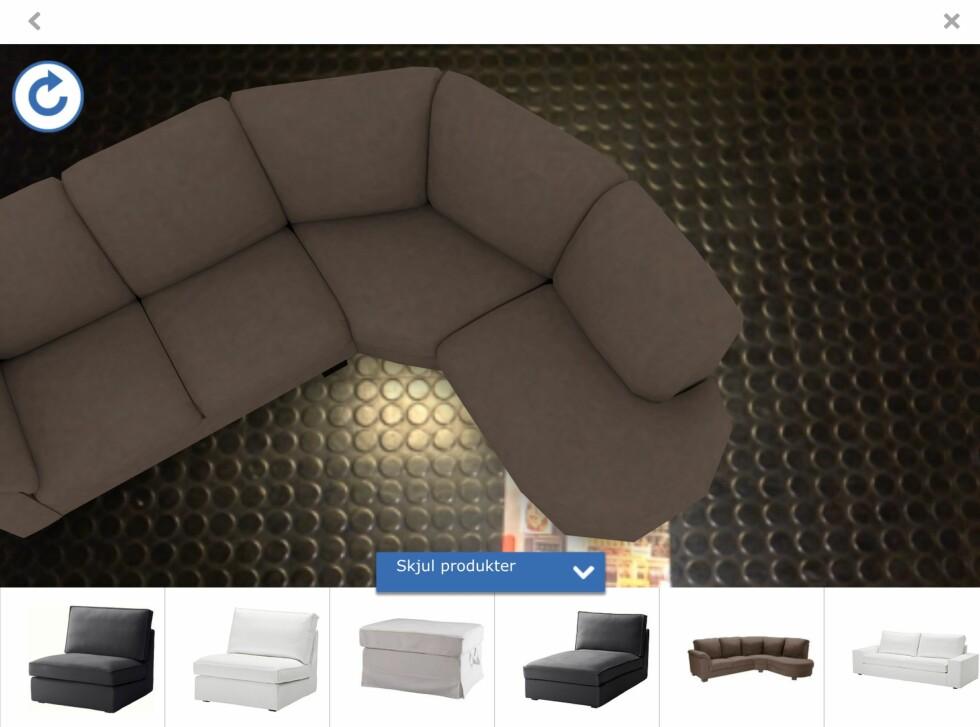 Du navigerer deg til nye møbler ved å scrolle. Men det tar tid å scrolle seg til det møbelet du vil. Foto: IKEA