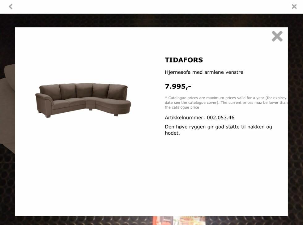 Du kan også få opp informasjon om møbelet du ser på. Foto: IKEA