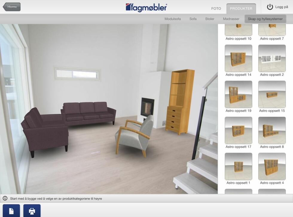 Her har vi valgt en litt sprek farge på sofagruppen. Vi satte også inn en stol og en reol. Foto: Fagmøbler