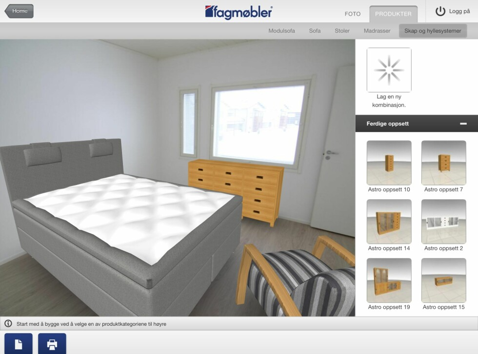 En queensize (150cm) seng, en stol og en kommode burde passe akkurat på dette rommet. Foto: Fagmøbler