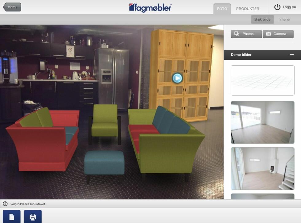 Her har vi redesignet fellesområdet på kontoret. Vi gikk for spenstige farger og mørkbeisa trebein. Eikeskapet var en strek i regningen. Foto: Fagmøbler