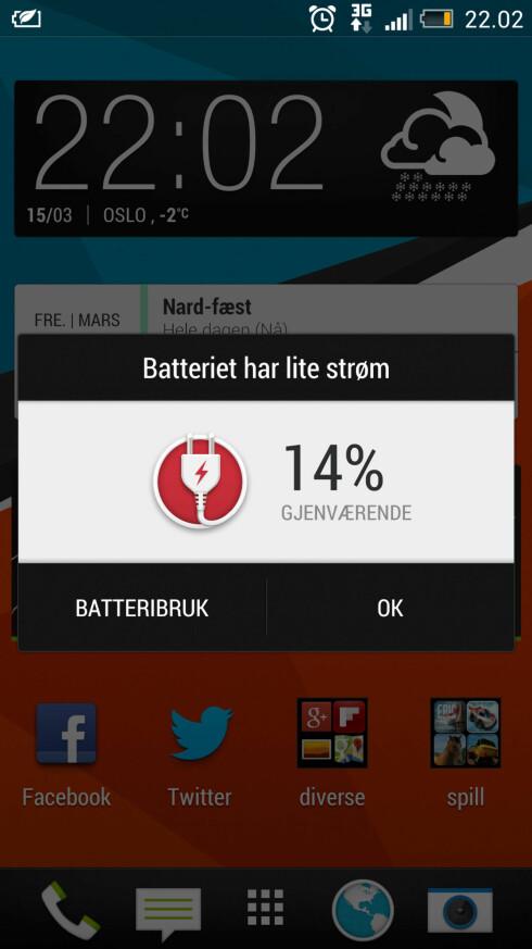 AKKURAT: 14 prosent batteri klokka 22.00 på kvelden var ikke uvanlig i vår uke sammen med HTC One.  Foto: Ole Petter Baugerød Stokke