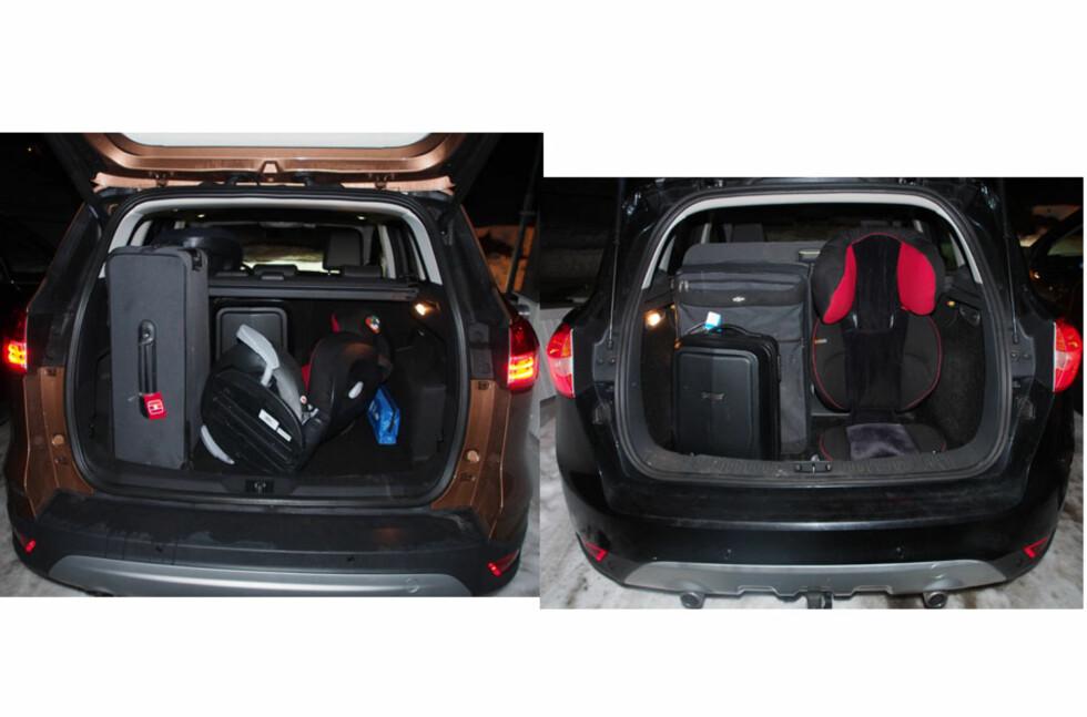 Her har vi fylt opp. Med to kofferter og et stort barnesete. 2013-modellen til venstre, og 2009-modellen til høyre. Foto: Øyvind P