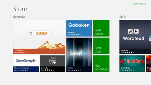SKAL VI SJÅ: App-butikken i Windows RT har endel norske apper, men det mangler mye.  Foto: Ole Petter Baugerød Stokke