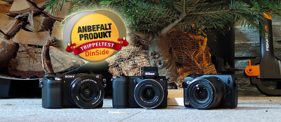 TRE UTEN SPEIL: Fra venstre - Sony NEX-6, Nikon 1 V2 og Canon EOS M.