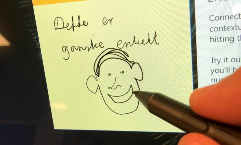 TEGNE: Den medfølgende pennen gjør det relativt enkelt å lage sine egne skisser og skriblerier rett på skjermen. Foto: Bjørn Eirik Loftås