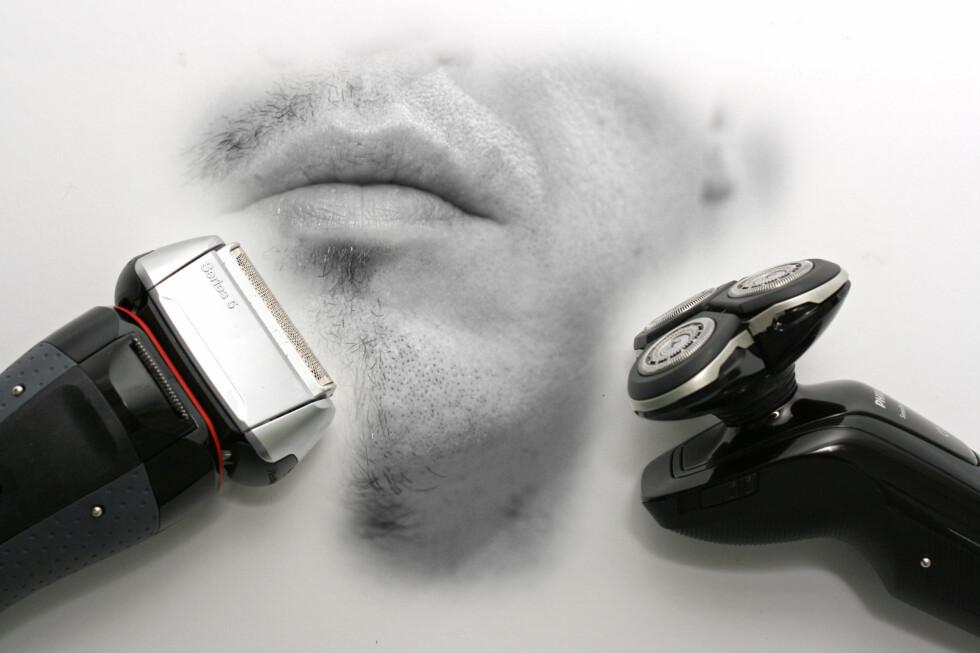 DUELL: Dette bildet er litt ubehagelig å se på, men det er langt fra ubehagelig å barbere seg med Philips RQ1250 og Braun 5050cc. Det betyr ikke at de to barbermaskin-duellantene ikke har problemer. Foto: Øivind Idsø
