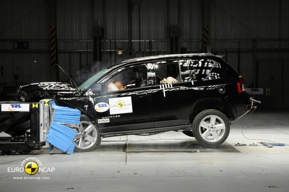 Jeep Compass oppnådde bare 2 av 5 stjerner da den ble testet av Euro NCAP