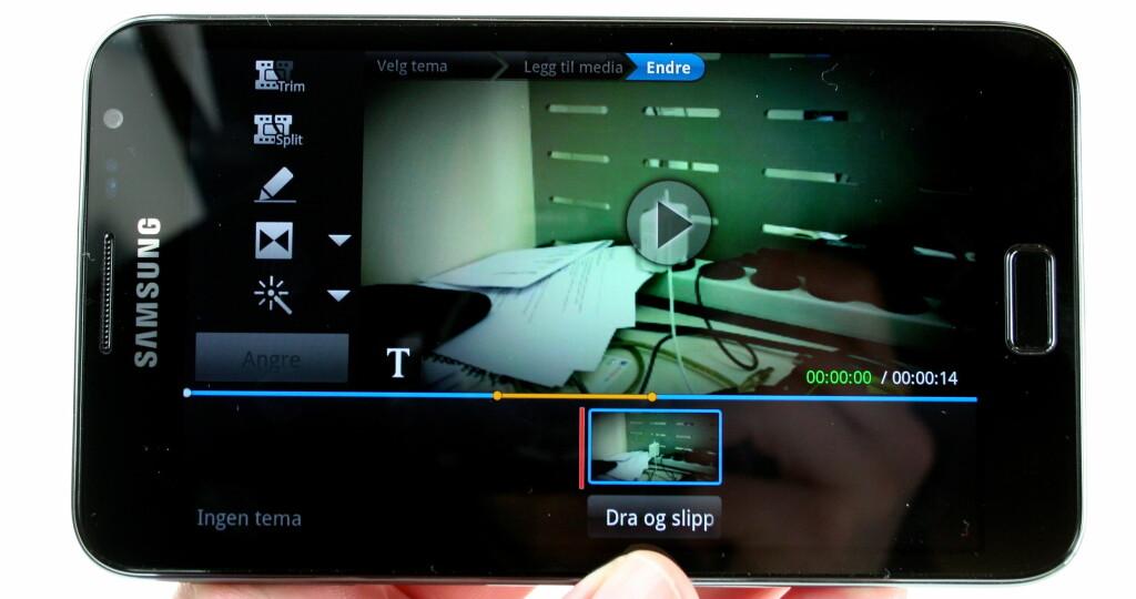 NESTEN STOR NOK: Med så stor skjerm er ikke videoredigering på mobilen helt ueffent. Foto: Øivind Idsø