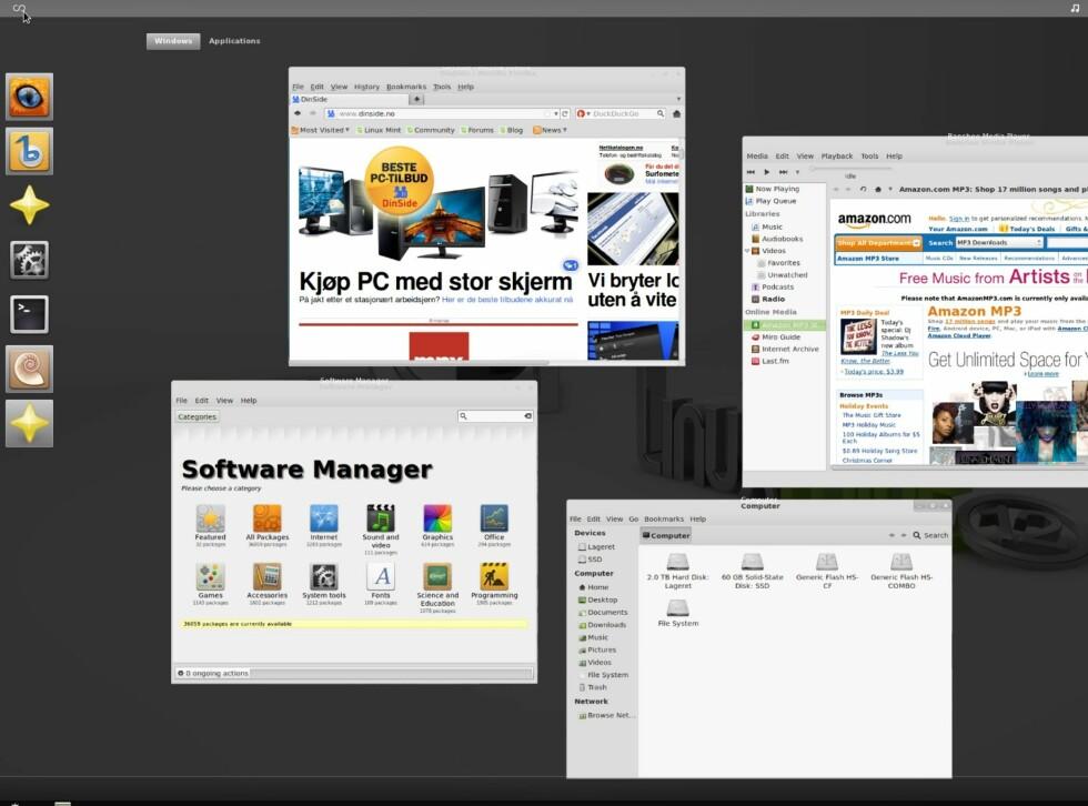 """Et klikk øverst til høyre gir deg rask tilgang til favorittprogrammer, og stabler kjørende programvinduer (""""Activities"""")"""