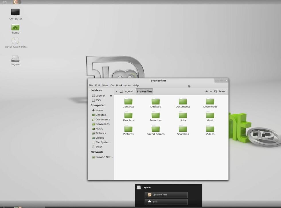 """Når du kobler til disker får du enkel tilgang til """"løs ut"""" nederst på skjermen."""