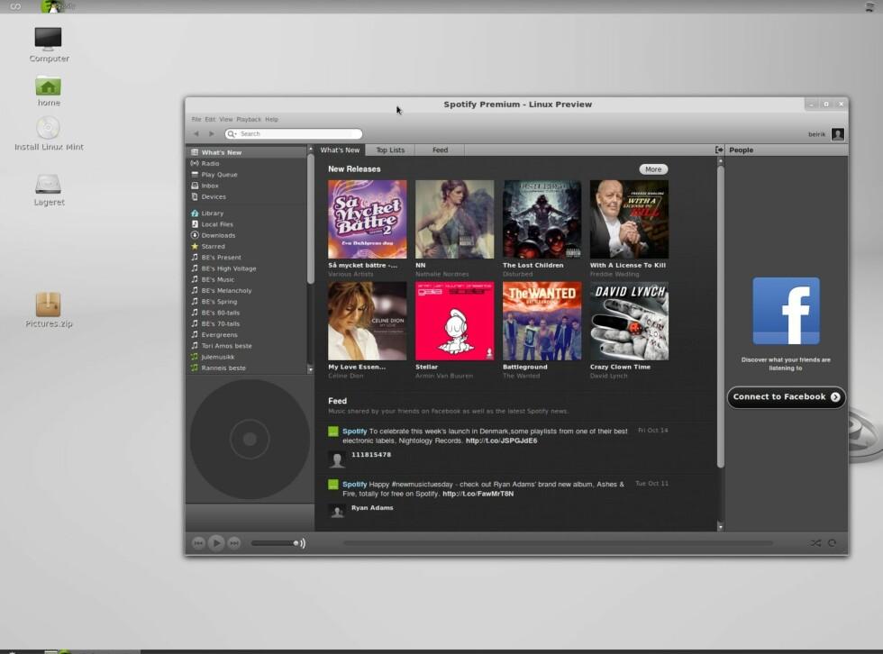 Spotify for Linux fungerer omtrent som Windows- og Mac-utgaven nå.