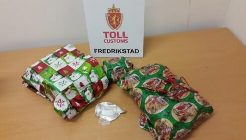 <strong>HARDE PAKKER:</strong> Tollere i Fredrikstad stoppet en ungarer som hadde med seg «julegaver» til kjæresten, som viste seg å inneholde 3.200 tabletter med Rivotril. Foto: toll.no.