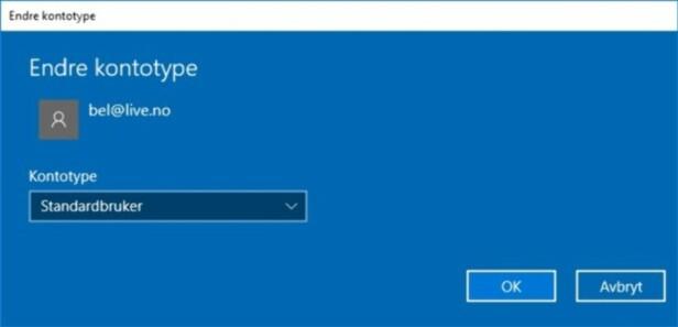 STANDARD ER TRYGT: Bruker du en Standardbruker-konto i Windows, blir PC-hverdagen din langt tryggere. Skjermdump: Dinside