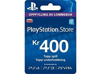 PRAKTISK: Med slike gavekort kan man bruke pengene på spillkjøp direkte fra konsollen. Foto: Sony