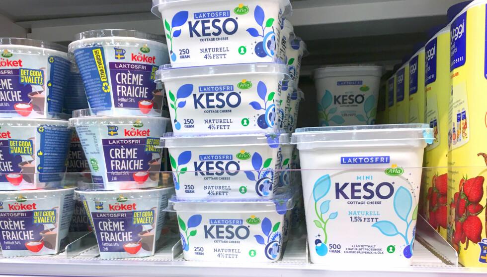 MYE MER Å VELGE I: Utvalget på laktosefri mat er mye bedre i Sverige. Og alt er mye billigere. Foto: Kristin Sørdal