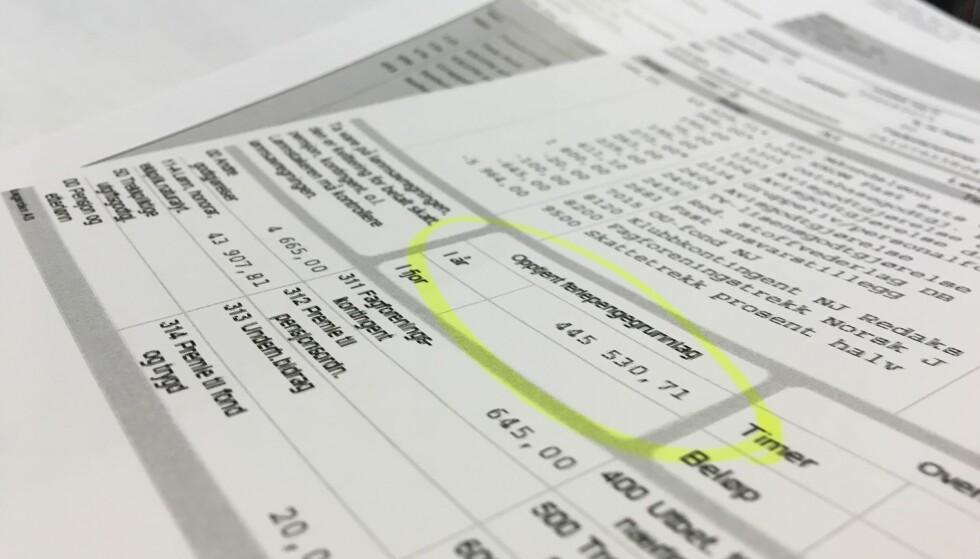 FERIEPENGEGRUNNLAGET: Dette tallet på lønnslippen din for desember i fjor, avgjør hvor mye du får utbetalt i feriepenger i år. Foto: Berit B. Njarga