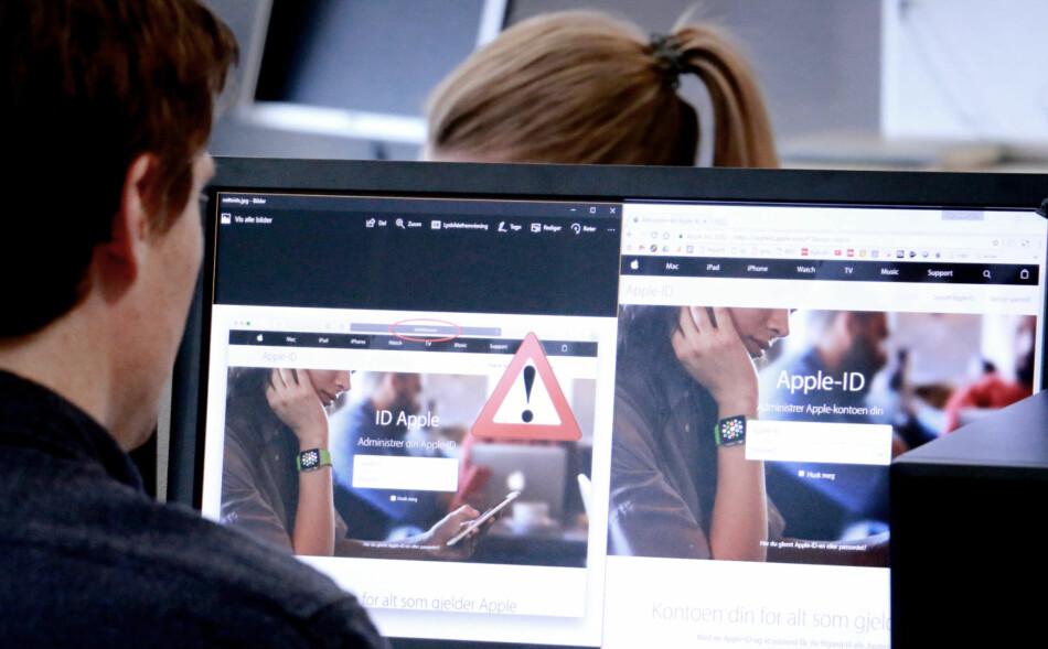FALSK E-POST, FALSK NETTSIDE: Til venstre ser du nettsidene som svindlerne laget, til høyre den ekte siden til Apple. Det var trolig denne falske nettsiden, lenket til fra en falsk e-post, som lurte en nordmann. Bare adressen og små detaljer avslører den. Foto: Ole Petter Baugerød Stokke