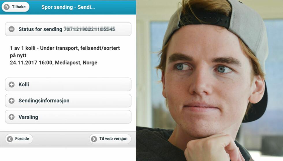 TRE UKER: Så lang tid har gått siden Fredrik bestilte pakken sin. Fredag forteller PostNord at den er levert. Foto: Skjermdump/Privat