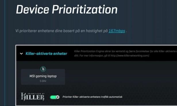 AUTOMATIKK: PC-er med Killer-nettverkskort blir automatisk prioritert i båndbreddefordelingen. Du kan også prioritere enheter manuelt. Skjermdump: Dinside
