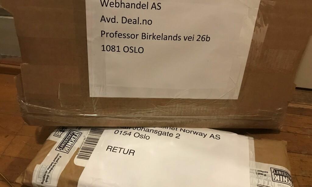 DYR RETUR: Vi fikk tilbake de 197 kronene vi hadde betalt for tastaturet fra Deal.no. Men da vi skulle sende det tilbake, måtte vi ut med 235 kroner til Posten. Foto: Tore Neset.