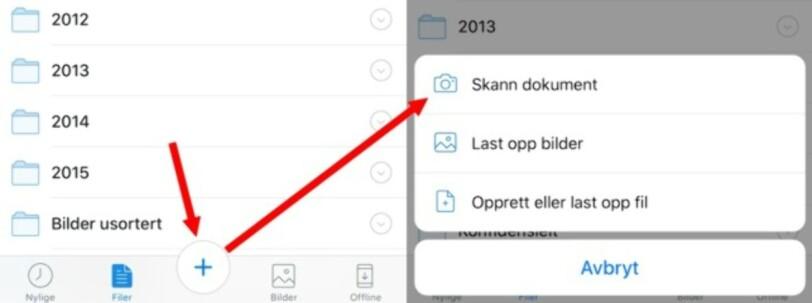 ENKELT: Trykk på + og velg Skann dokument. Deretter holder du mobilen over dokumentet og trykker på skanne-knappen. Illustrasjon: Bjørn Eirik Loftås