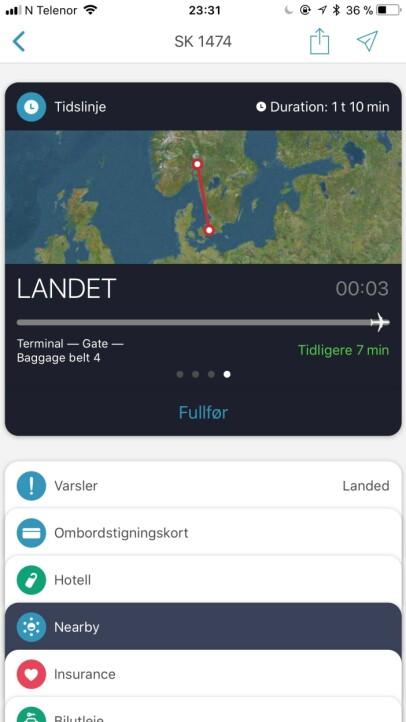 SE HVOR FLYET ER: Med App in the Air kan familien din følge med på om flyet ditt har landet. Skjermbilde: Kirsti Østvang