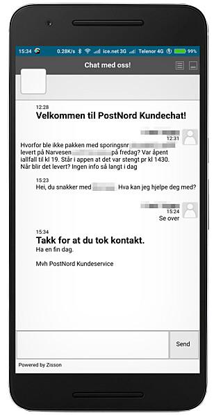 TAKKET FOR SEG: PostNord ville tydeligvis ikke chatte med vår leser, og takket for seg før han fikk noen svar. Foto: Tipser