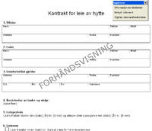 Utleiekontrakt for hytte