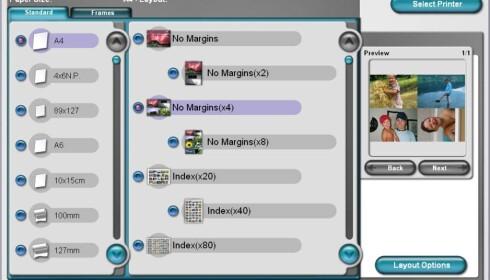 PhotoQuicker 3.5 følger med, et program som bl.a. gjør det enklere å skrive flere bilder pr ark, uten marger. Klikk på bildet for full størrelse.