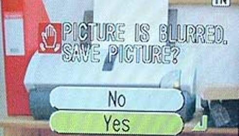 Hvis bildet ble uskarpt, får du spørsmål om du vil slette det med det samme.