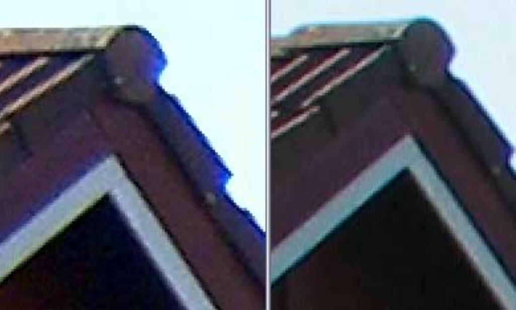 Kromatisk feilbryting er mer fremtredende på bildet tatt med Casio QV-R40 (venstre) enn Canon Powershot G3. Sistnevnte er et stort kamera med langt mer avansert optikk.