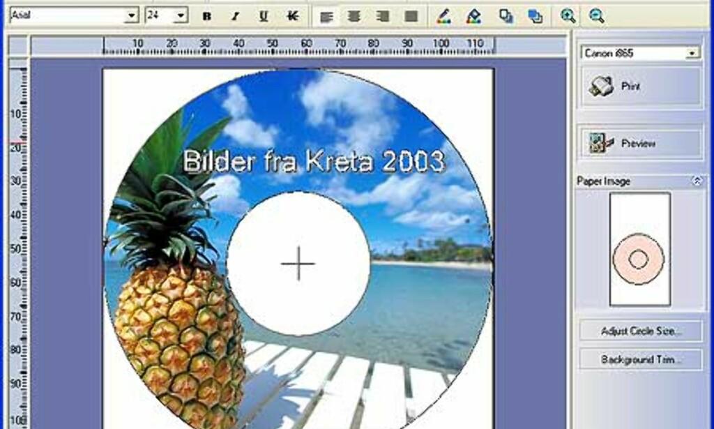 Programmet CD-LabelPrint er utrolig enkelt å bruke.