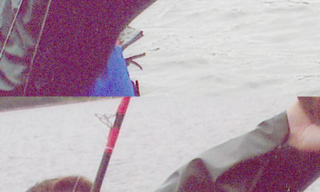 Her har vi med vilje skrudd opp lysstyrken for å illustrere hvordan detaljer er blitt visket bort på bildet fra FotoKnudsen. Legg merke til undersiden av jakkeermet til personen på bildet. Mens foldene er blitt borte på bildet fra FotoKnudsen (øverst), er de bevart på bildet fra Preus Foto (nederst)