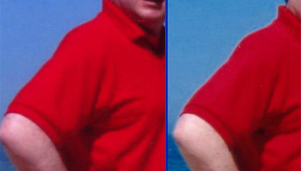 Til venstre ser du utsnitt fra et bilde fra Preus, til høyre samme bilde fra Foto Labo. Legg merke til den hvite kanten der skulder og arm møter himmelen på bildet fra Foto Labo. Bildet har tydeligvis blitt skarpet, og i dette tilfellet blitt tilført for mye.